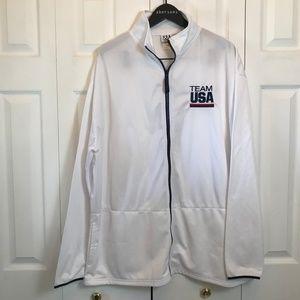 Team USA Light Athletic White Zip Up Jacket sz 2XL